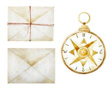 Compass with envelopes - stock illustration