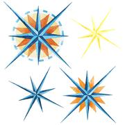 Wind rose compass - stock illustration