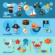 Nautical Banners Set - stock illustration