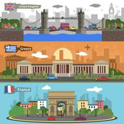 Historical landmarks skyline banners set - stock illustration