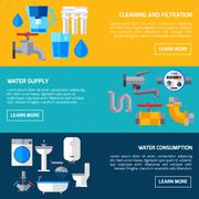 Water Supply Banners - stock illustration