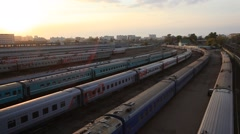 RUSSIA.TRANSPORT- 2012: Parking trains in Sunset Stock Footage