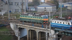 RUSSIA.TRANSPORT- 2012: Parking trains in DEPO Stock Footage