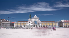 Commerce Square with Statue of King Jose I in downtown Lisbon (Portugal), close Stock Footage