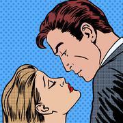 Love men and women kiss pop art comics retro style Halftone Stock Illustration