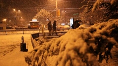 RUSSIA.SIMFEROPOL-2012: Snow storm at the Railways station - stock footage