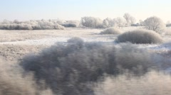 RUSSIA.TRANSPORT- 2012: Train window point of view. Winter. Stock Footage