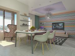 Stock Illustration of 3d illustration of small apartments in pastel colors.
