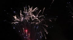 Fireworks display in the night sky with natural sound Stock Footage