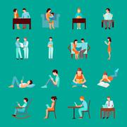Stock Illustration of Reading People Set