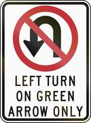 No U-Turn - Left On Green Only Stock Illustration
