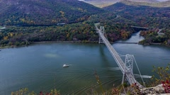 4K Fall timelapse hudson river bear mountain bridge - stock footage