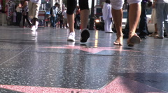 Foot traffic on hollywood blvd. hollywood stars Stock Footage