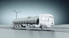 Monochrome tanker gas truck on a highway. Side view. Looping background. - stock footage