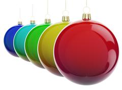 Christmas balls in a row - stock illustration