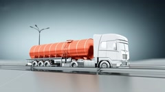 Orange tanker gas truck on a highway. Side view. Looping background. Stock Footage