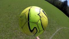 POV shot of football kickups Stock Footage