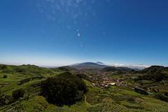 View to La Laguna, El Teide in the background - stock photo