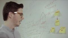Man sticking adhesive note - stock footage
