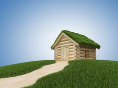 Pathway to small wooden house with grassy roof - stock illustration