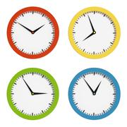 Multi-colored clocks Stock Illustration