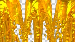 Animated fountains of gold paint against transparent background 2b 1080p Stock Footage