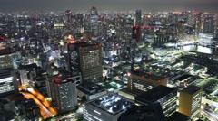 4K Time Lapse of Tsukiji Fish Market District at night in Tokyo, Japan -Pan R- Stock Footage