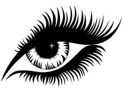 Female eye black silhouette Stock Illustration