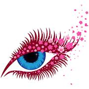 Female blue eye with small pink sakura flowers - stock illustration