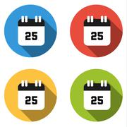 Collection of 4 isolated flat buttons (icons) for number 25 - stock illustration