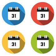 Collection of 4 isolated flat buttons (icons) for number 31 Stock Illustration