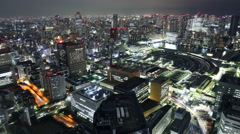 4K Time Lapse of Tsukiji Fish Market District at night in Tokyo, Japan -Zoom In- Stock Footage