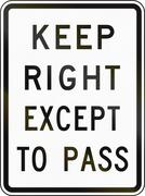 Keep Right Except To Pass Stock Illustration