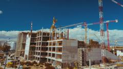Big construction site with cranes panorama,post dolly timelapse Stock Footage