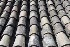 Tiled roof background from old Spanish ruins. - stock photo