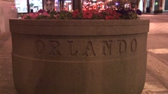 ORLANDO DOWNTOWN STREET LANDSCAPE PLANTER Stock Footage