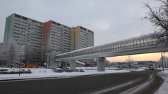 ZELENOGRAD.RUSSIA - 2013: Winter town, view of the road and footbridge Stock Footage
