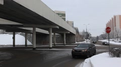 ZELENOGRAD.RUSSIA - 2013: Winter town, view of the road Stock Footage