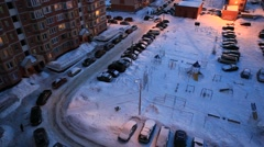 ZHELEZNODOROZHNIY.RUSSIA-2013: Above view of the  night countryard Stock Footage