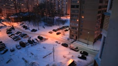 ZHELEZNODOROZHNIY.RUSSIA-2013: Above view of the  night countryard Stock Footage