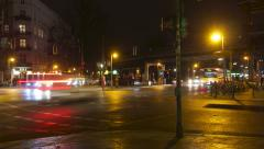 Berlin street at night timelapse Stock Footage
