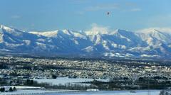 View of Obihiro and mountainscape, Hokkaido Japan Stock Footage