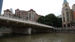 River cruise on the Singapore River on a boat Stock Footage