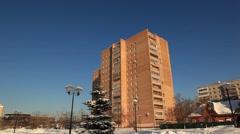 ZHELEZNODOROZHNIY.RUSSIA-2013: Resindetial house, zoom in Stock Footage