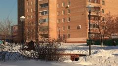 ZHELEZNODOROZHNIY.RUSSIA-2013: Resindetial house, tilt up Stock Footage
