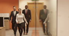 Group of multi-ethnic businessmen arrive to a business meeting. Stock Footage