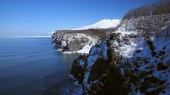 Cliff by the sea, Hokkaido, Japan Stock Footage