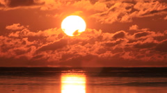 Sunrise over the sea, Hokkaido, Japan Stock Footage