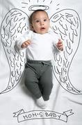 Cute baby boy with angel wings decoration sketch - stock photo