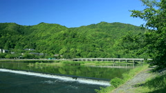 Togetsu-Kyo Bridge, Kyoto, Japan Stock Footage